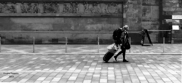 Girl with suitcase in Glasgow today