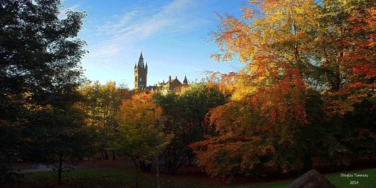 Glasgow University from Kelvingrove Park