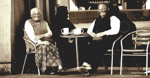 Ladies enjoying a cup of tea in Partick, Glasgow, today.